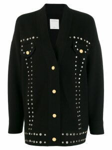 Sandro Paris oversized eyelet-embellished cardigan - Black