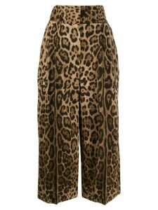 Dolce & Gabbana cropped leopard trousers - Brown