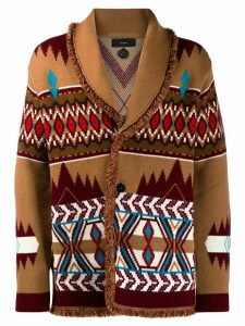 Alanui intarsia button cardigan - Brown