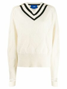 Ji Oh stripe long-sleeve sweater - White