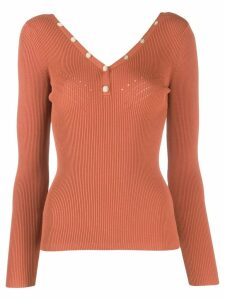 Sandro Paris fitted ribbed jumper - Brown