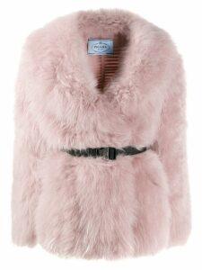 Prada belted goat fur jacket - PINK