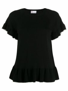 RedValentino frill trim top - Black