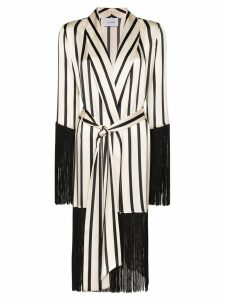 We Are Leone fringed stripe robe - White
