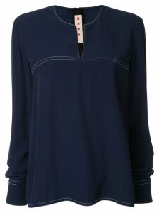 Marni long-sleeve flared blouse - Blue