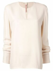 Marni long-sleeve flared blouse - White