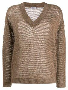 Brunello Cucinelli V-neck pullover - NEUTRALS