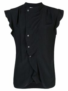 Derek Lam 10 Crosby Short Sleeve Draped Blouse with Asymmetrical