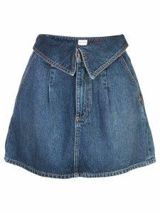 Alice+Olivia foldover waist denim skirt - Blue