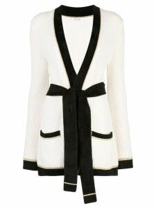 Derek Lam 10 Crosby Belted Ribbed Cotton Lurex Stripe Cardigan - White