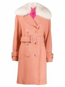Blumarine fur trimmed coat - Pink