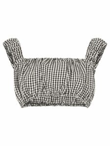 Solid & Striped off-shoulder gingham top - Black