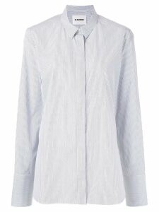 Jil Sander striped pointed collar shirt - Blue