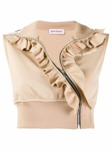 Palm Angels sleeveless ruffle crop top - NEUTRALS