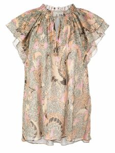 Ulla Johnson printed ruffle blouse - NEUTRALS