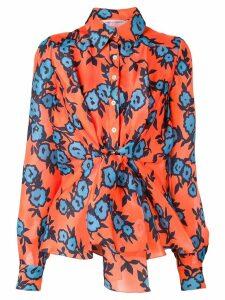 Carolina Herrera printed tie waist shirt - Orange
