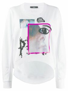 Diesel graphic print cropped sweatshirt - White