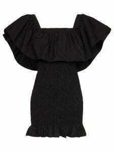 Solid & Striped ruffle-trimmed shirred mini dress - BLACK