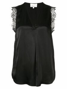 3.1 Phillip Lim Lace Trim V-Neck Tank - Black
