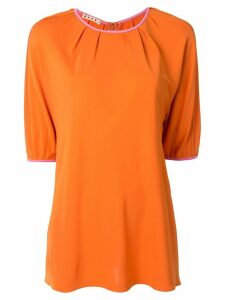 Marni pleated details half-sleeved top - Orange