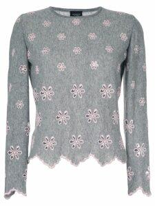 Giambattista Valli embroidered flower jumper - Grey