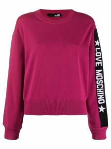 Love Moschino logo print knit sweater - PINK