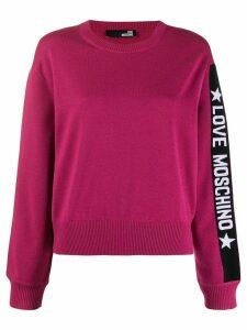 Love Moschino logo print knit sweater - Pink