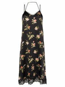 R13 floral print slip dress - Black
