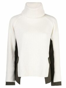 Sacai panelled roll neck jumper - White
