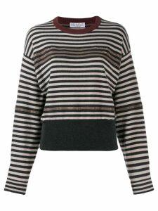 Brunello Cucinelli striped chain trim sweater - Grey