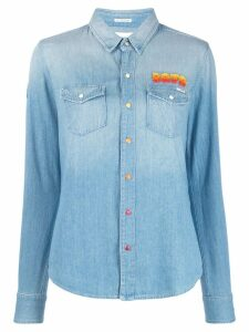 Mother embroidered shirt - Blue