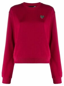 Love Moschino Heart plaque sweatshirt - Red