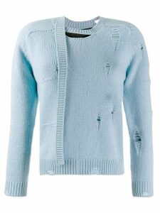 Marc Jacobs Worn Torn knitted sweater - Blue