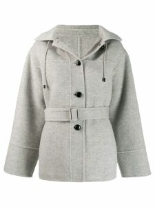 Joseph hood single-breasted coat - Grey