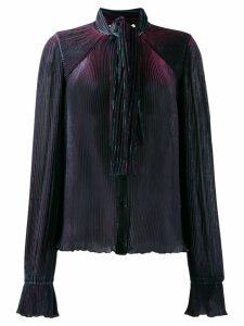 Marco De Vincenzo pleated pussy bow blouse - Blue