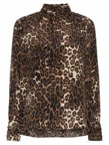 Nili Lotan Alana leopard print silk blouse - Brown