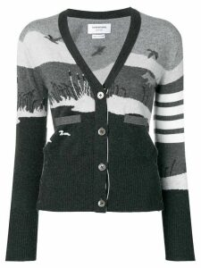 Thom Browne 4-Bar Hunting Intarsia Cardigan - Grey