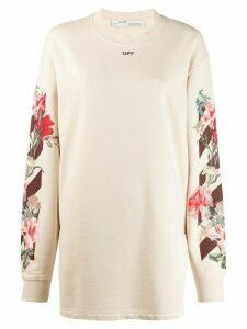 Off-White floral logo print sweatshirt - Neutrals