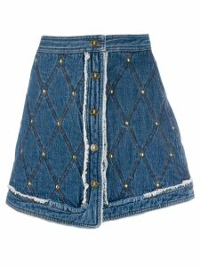Just Cavalli stitched pattern short skirt - Blue