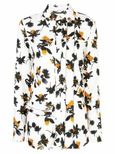 Derek Lam Floating Floral Long Sleeve Ruffle Edge Button-Down Blouse -