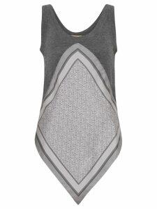 Burberry Monogram Print Scarf Detail Wool Vest - Grey