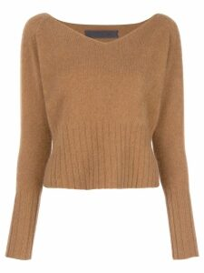 The Elder Statesman knit wide V-neck sweater - Brown