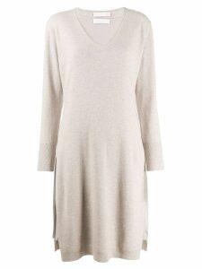 Fabiana Filippi v-neck sweatshirt dress - NEUTRALS