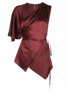 Yigal Azrouel satin tie neck blouse - Red