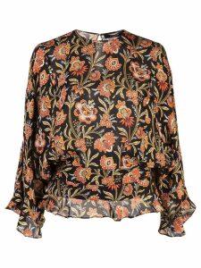 Derek Lam ruffle hem floral print blouse - Black