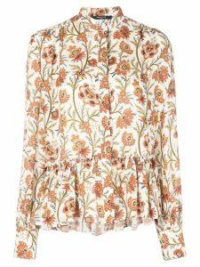 Derek Lam floral print ruffle hem blouse - White