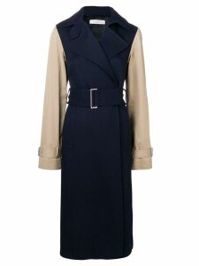 Victoria Beckham contrast sleeve fitted coat - Blue
