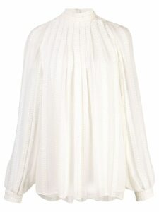 Derek Lam Long Sleeve Cord Embroidered Gauze Trapeze Blouse - White