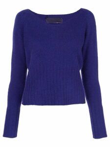 The Elder Statesman knit wide V-neck sweater - Blue