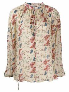 Semicouture floral-print tie-neck blouse - Neutrals